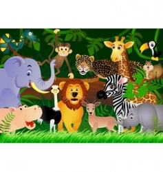 animal in the jungle vector image
