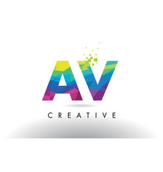 Av a v colorful letter origami triangles design vector