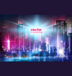 Background city night in neon vector