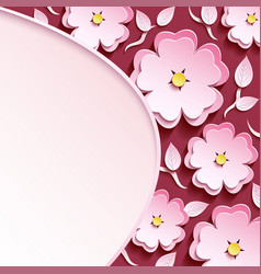 Background with 3d sakura and leaf vector