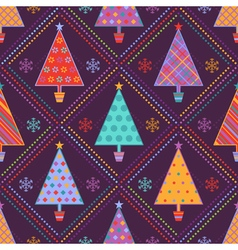 Background with multicolored fir trees vector image