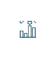 bar chart icon design marketing icon line vector image