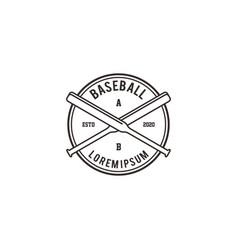 Baseball softball logo with a bat logo vector