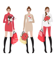 beautiful women in red winter christmas costume vector image