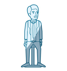 Blue color silhouette shading of man with formal vector