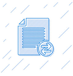 Blue transfer files line icon isolated on white vector