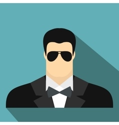 Bodyguard agent man flat icon vector