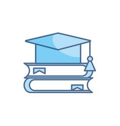 Books graduation hat school education learning vector
