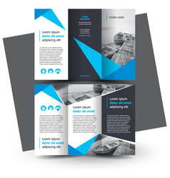 Brochure design template creative tri-fold blue vector