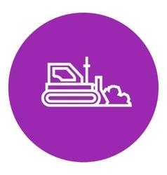 Bulldozer line icon vector