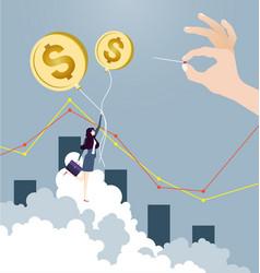 businesswoman flying on dollar sign balloon vector image