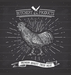 Butcher shop vintage emblem rooster meat products vector
