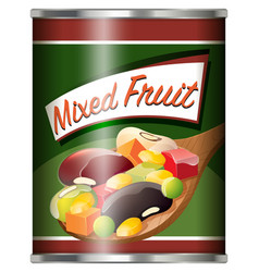 Canned food with mixed fruit vector
