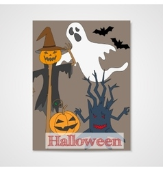 Card with hand drawn doodle scum - ghost vector image