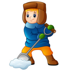 Cartoon boy shoveling snow vector