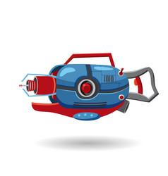 Cartoon retro space blaster ray gun laser weapon vector