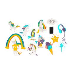 Cartoon unicorns magic objects set vector