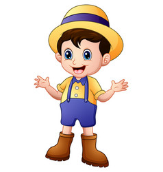 cartoon young farmer waving vector image