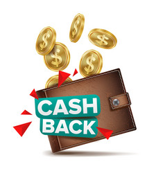 Cash back concept realistic wallet and vector