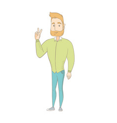 Caucasian hippie man showing victory gesture vector