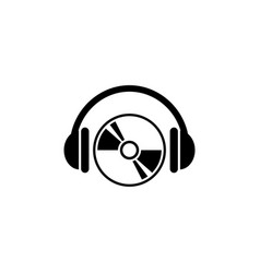 Cd dvd with headphones flat icon vector