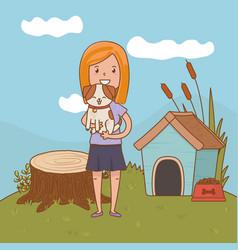childhood happy child cartoon vector image