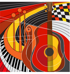 colorful of musical instruments vector image
