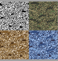 Colorful seamless pattern pixel camouflage set of vector