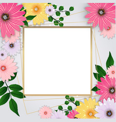 cute background with frame and flowers collection vector image