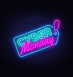 Cyber monday sale neon sign cyber monday vector