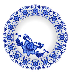 Decorative porcelain plate vector