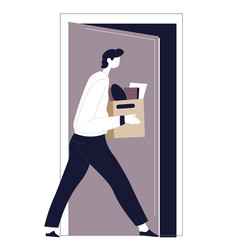 dismissed male character walking away with box vector image