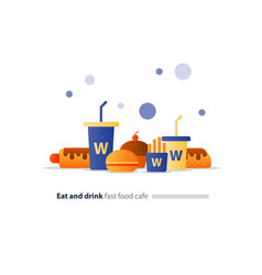 Eat and drink set fast food flat icons cafe vector