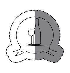 Figure emblem wine bottle with glass icon vector