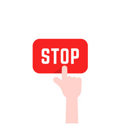 finger pushing red stop button vector image