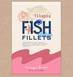 Fish fillets abstract packaging vector