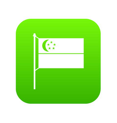 flag of singapore icon digital green vector image