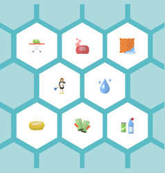 flat icons means for cleaning housekeeping vector image