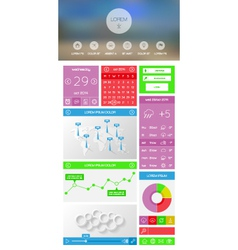 Flat UI kit for web and mobile design vector