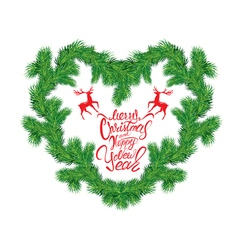 Frame of Christmas fir tree branches in heart shap vector image
