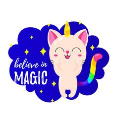 Funny cartoon kitten unicorn vector