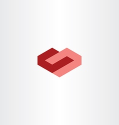 geometric red heart love sign icon vector image
