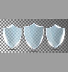 glass shields set on transparent background vector image