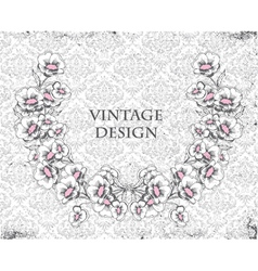grunge damask background with floral frame vector image