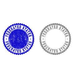 Grunge federated states textured stamp seals vector