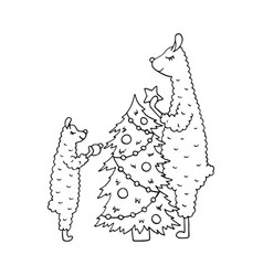 hand-drawn monochrome poster with a lama family vector image