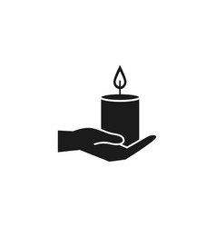 Hand with spa candle silhouette style icon vector
