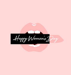 happy women s day greeting card with red open lips vector image