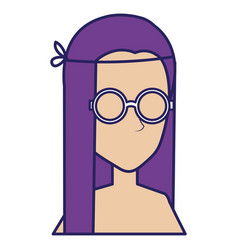 hippie woman shirtless avatar character vector image