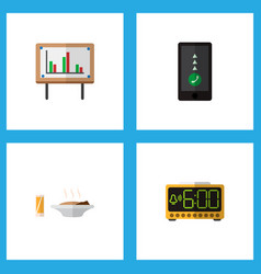 icon flat life set of food with drink chart vector image